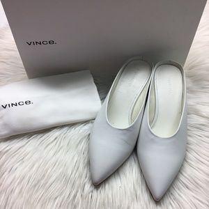 Vince WhiteLeather Slide Heels 6M